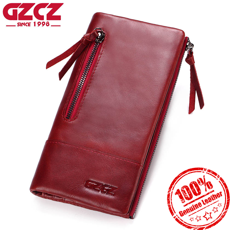 GZCZ Genuine Leather Women Wallet Double Zipper Clamp For Money Clutch Long Fashion Female Coin Purse Wallets Portomonee fashion girl change clasp purse money coin purse portable multifunction long female clutch travel wallet portefeuille femme cuir