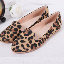OCHENTA Plus size women's shoes spring and ummer leopard print Moccasins flat heel single Ballet shoes maternitycasual flatshoes