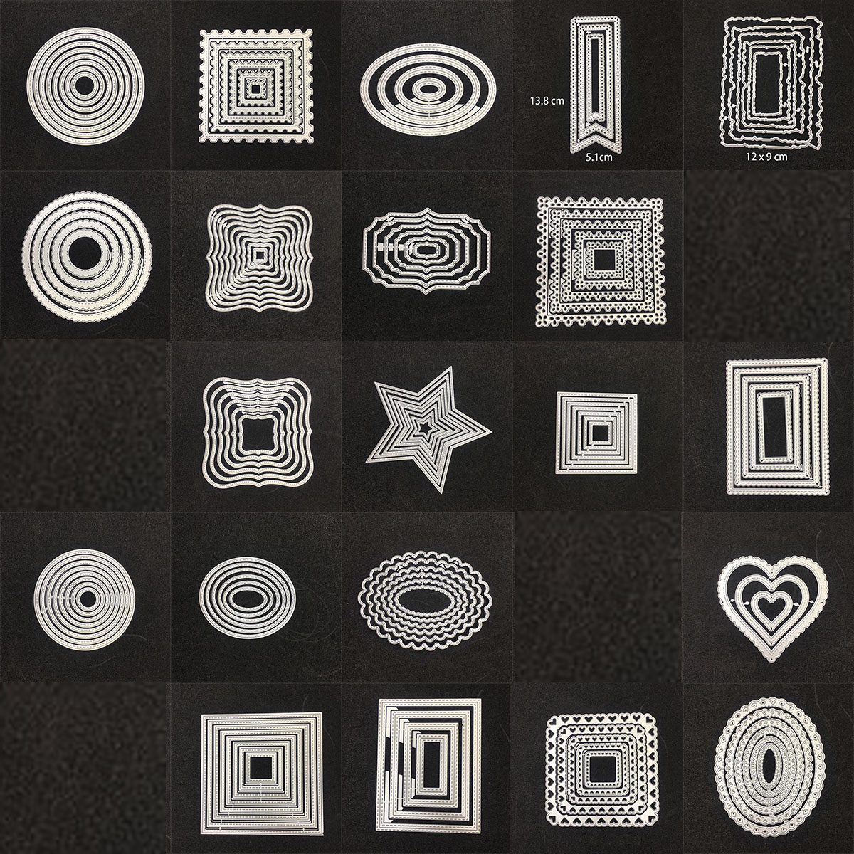 Square Star Heart Rectangle Circle Dies Frame Metal Cutting Die For DIY Scrapbooking Paper Cards Die Cuts Photo Album Making