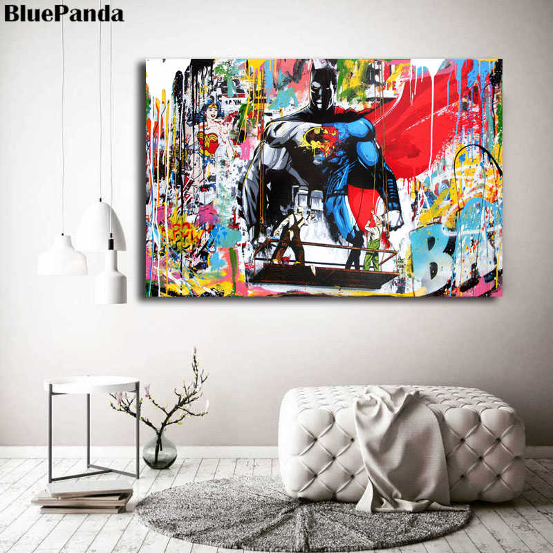 Banksy Superhero Batman Street Art Paintings On Canvas Mr. Brainwash Modern Poster Graffit Wall Pictures For Living Room Decor
