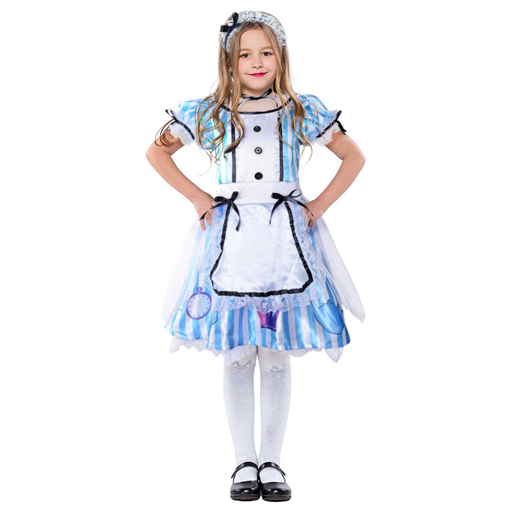 Alice in Wonderland Kids Costume Deluxe Blue Stripes Child Alice Dress with White Apron Little Girls Tea Dance Halloween Costume