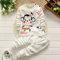 2017 Music Cartoon Monkey Boys Clothing set sets Long sleeves Tiny Cotton Boy Brand Boutique Clothes Size 2 3 4 5 t High quality