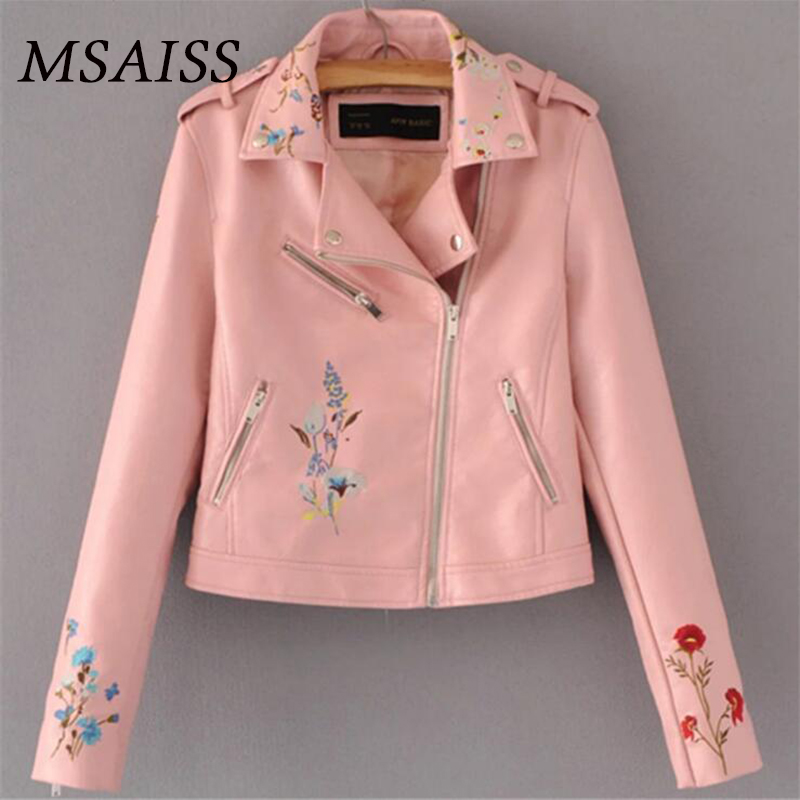 MSAISS Women Flower Embroidered Leather Jackets Autumn Winter Female Coat Fit Motorcycle Zipper Black Jacket S M L XL