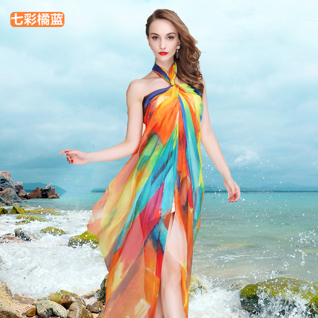 68de04ece6 Ladies Chiffon Wrap Dress Sarong Pareo Beach Bikini Swimwear Cover Up Scarf  New Spring Summer Beach Towel Scarf Shawl