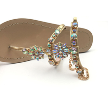 Rhinestones Crystal Chaussure Chains Thong Flat Sandals