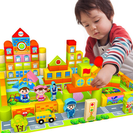 Bottled 160Pcs Wooden Blocks Baby Scene Chunk Of Early Childhood Preschool Educational Puzzle Toys special preschool children tong yizhi world map flags inserted wooden jigsaw puzzle assembled three dimensional toys no