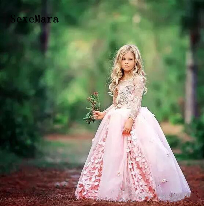 New Pink Flower Girl Dresses For Weddings Lace Ball Gown Kids Birthday Gown First Communion Dresses For Girls Vestido Longo gorgeous girls communion dresses for girls pink puffy solid o neck ball gown flower girl dresses for weddings birthday vestidos