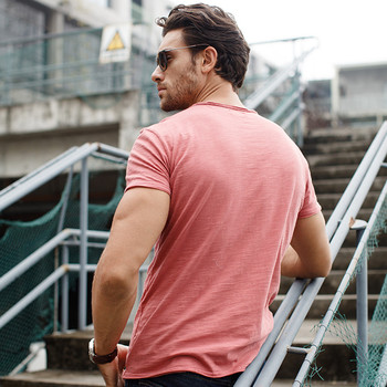 GustOmerD Brand T shirt Men's V-neck Slim Fit Pure Cotton T-shirt Fashion Short Sleeve T shirt Men's Tops Casual Tshirt M-XXL 8