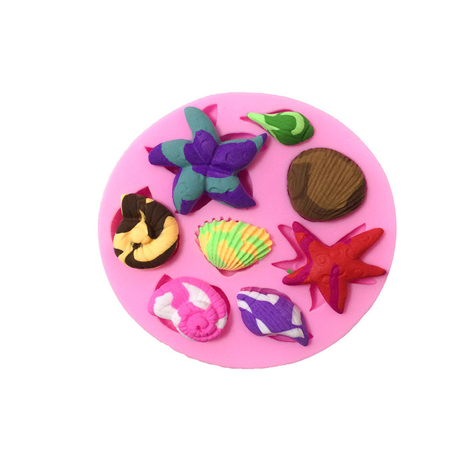 TTLIFE 3D Conch Starfish Shells Shape Silicone Mold Marine Life Baking Moulds Fondant Cake Mastic Confeitaria Pastry Making Tool