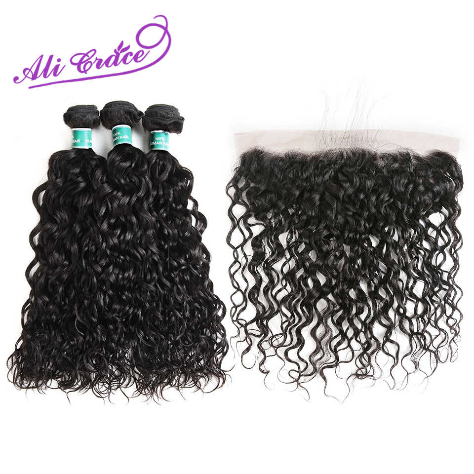 Ali Grace Hair Water Wave Peruvian Human Hair Weave With 13x4 Lace Frontal 4pcs/lot Remy Hair Bundles With Closure Natural Color