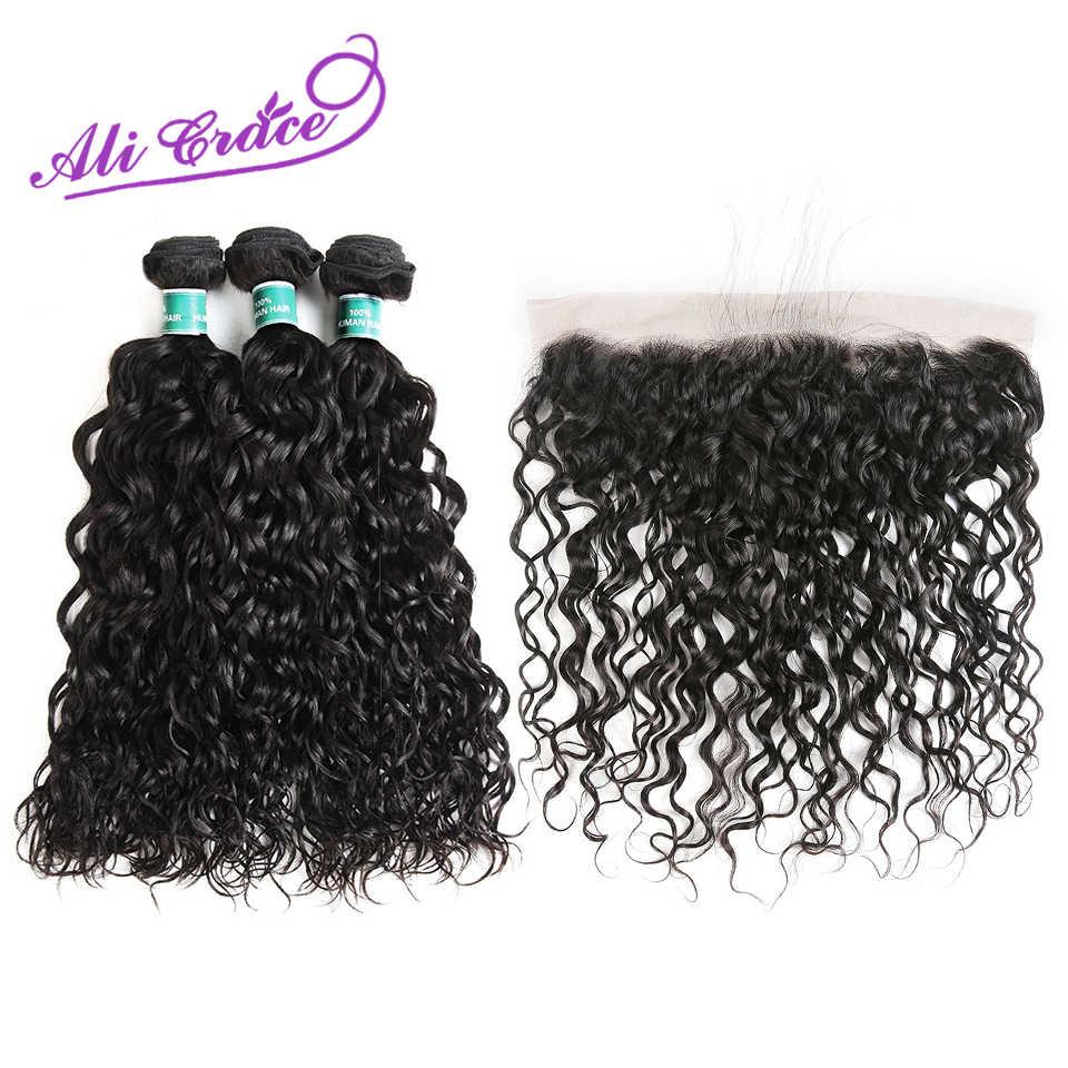 Ali Gnade Haar Wasser Welle Peruanisches Menschliches Haar Weben Mit 13x4 Spitze Frontal 4 teile/los Remy Haar Bundles mit Verschluss Natürliche Farbe