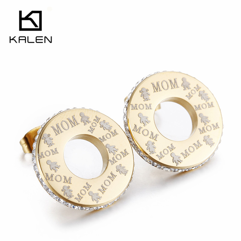 Kalen золото Цвет корейский Серьги симпатичная пара мальчик и девочка письмо мамы Серьги-гвоздики для мамочек подарок на день кубический цирк...