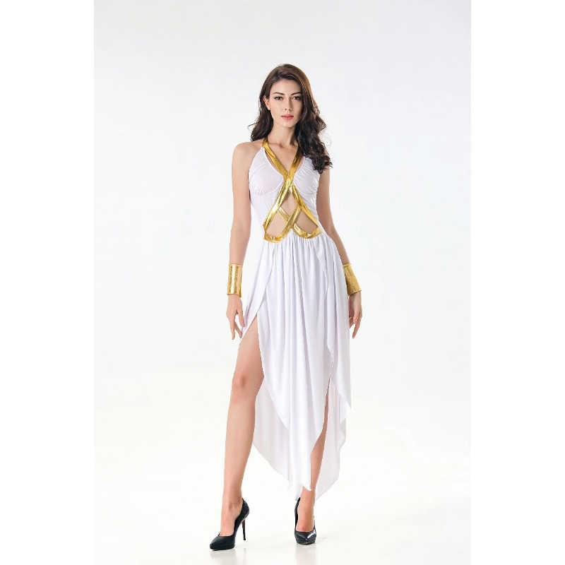 3c9c3f2cc7cc ... 2018 New Premium Halloween Costumes Adult Female Sexy White Dress Greek  Goddess Egyptian Costume Masquerade Queen's ...