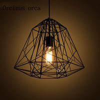 American style Nordic iron cage chandelier cafe restaurant retro originality industrial wind Chandelier free shipping