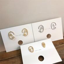 2019 Korea Earrings Retro Metal Hollow Face Gold Silver Boho Punk Women Ear Ring Fashion Summer Jewelry Party