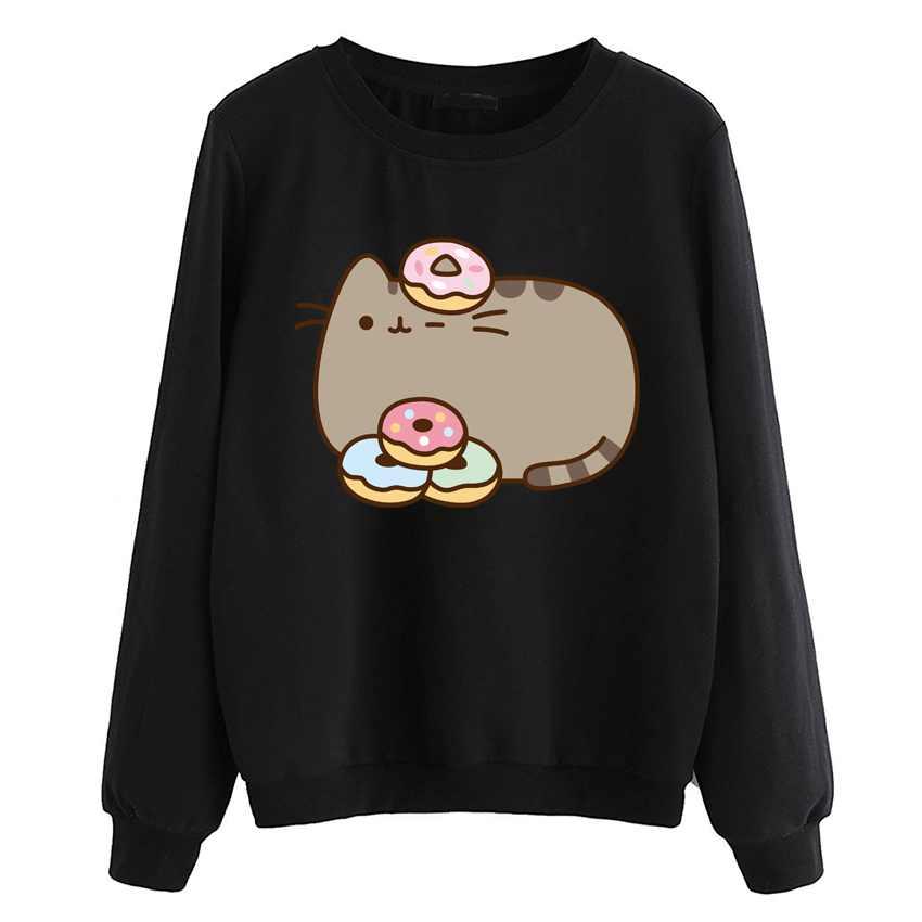 Fleece casual stil hoodies 2019 neue sweatshirts kawaii cartoon katze kleidung frauen weiß schwarz marke trainingsanzüge pullover herbst