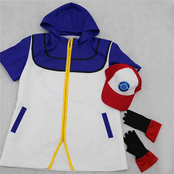 Anime Pocket Monster Ash Ketchum Cosplay T-shirt Coat+Gloves+Hat Unisex High Quality+Free Shipping G