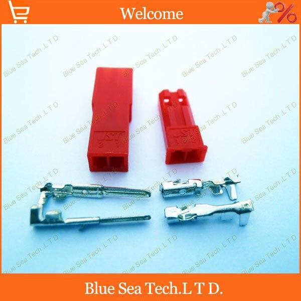 50 sets Rojo 2Pin/way Connector 2.54mm JST-2P conector eléctrico Kits de electró