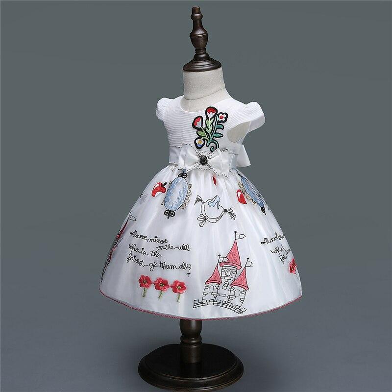 Robe bébé pour filles fleur arc robe de baptême première fête d'anniversaire bébé princesse robe mignon infantile robe de bal
