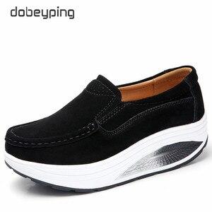 Image 2 - Dobeyping nowe buty wiosenne jesienne kobieta Slip On damskie mokasyny prawdziwej skóry płaski obcas kobiet buty mokasyny kobiece buty