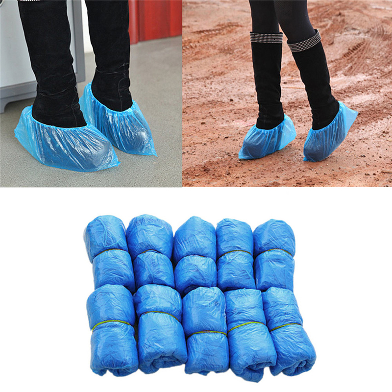 100PCS Waterproof Shoe Covers Plastic Disposable Medical Rain Boots Overshoes Rain Shoe Covers Blue Color Prevent Wet