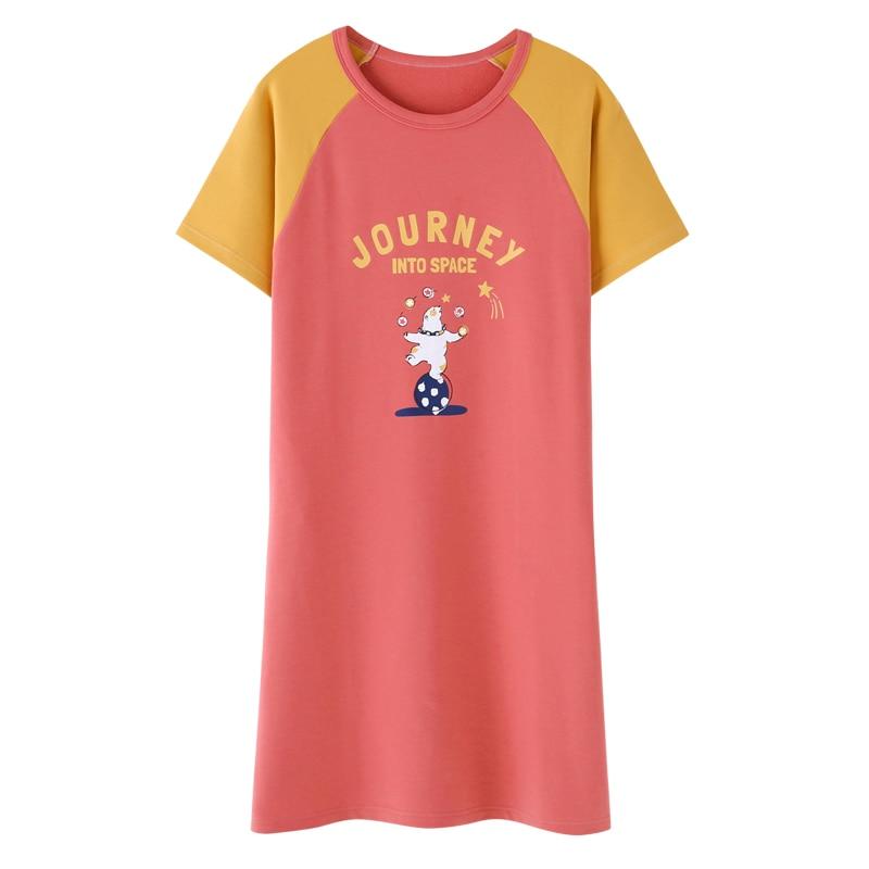 Lovely Cartoon Women   Nightgown   Sleepwear Short Sleeve   Sleepshirts   2019 Soft Cotton Nightie Nightdress Female Nightwear 2XL
