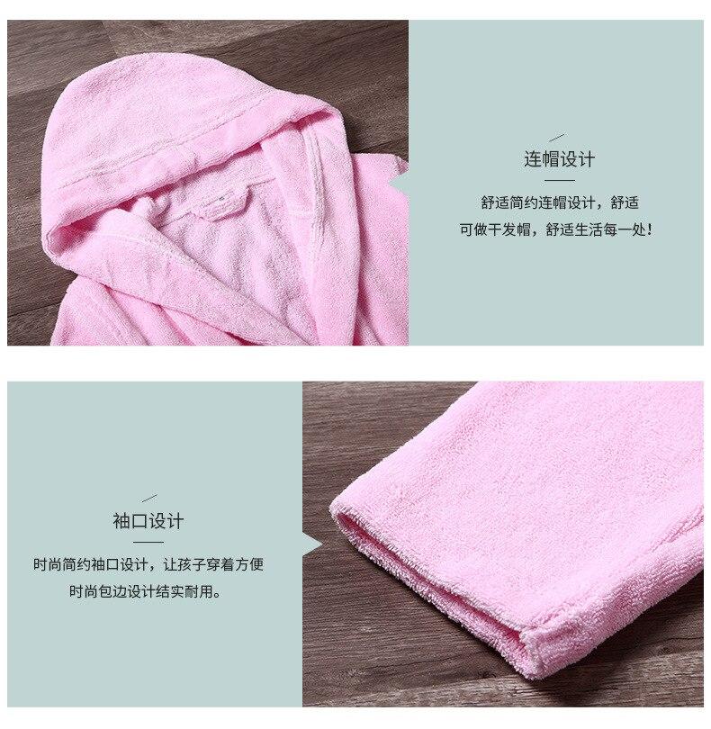 Peignoir bébé pur coton doux respirant absorption d'eau confortable à capuche doux Terry absorbant nuit robe de chambre pijamas - 3