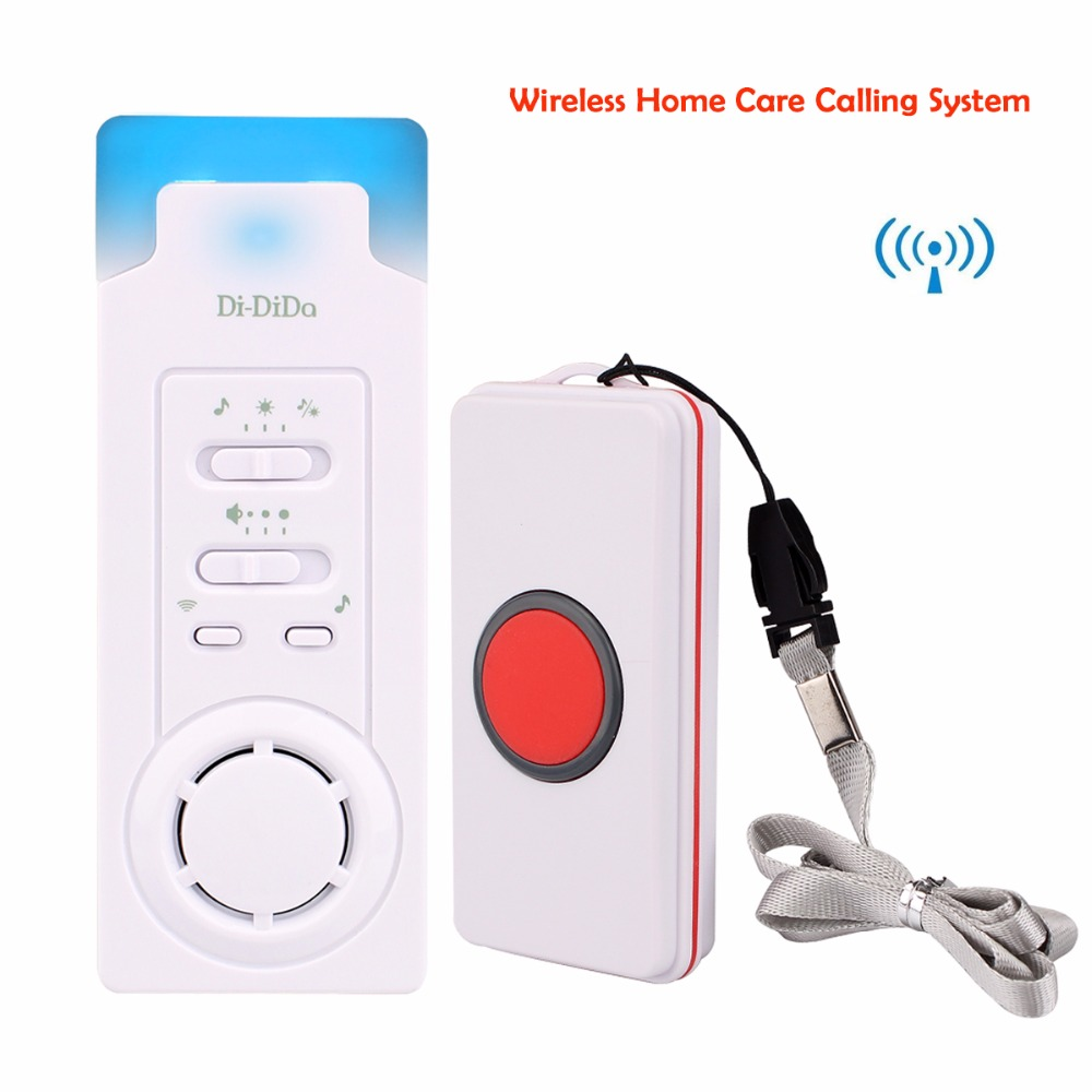 Wireless Calling System Home Care Alert Receiver +Call Transmitter Bell Button for Elderly Patient The Disabled F3329B wireless bell button for table service and pager display receiver showing call number for simple queue wireless call system