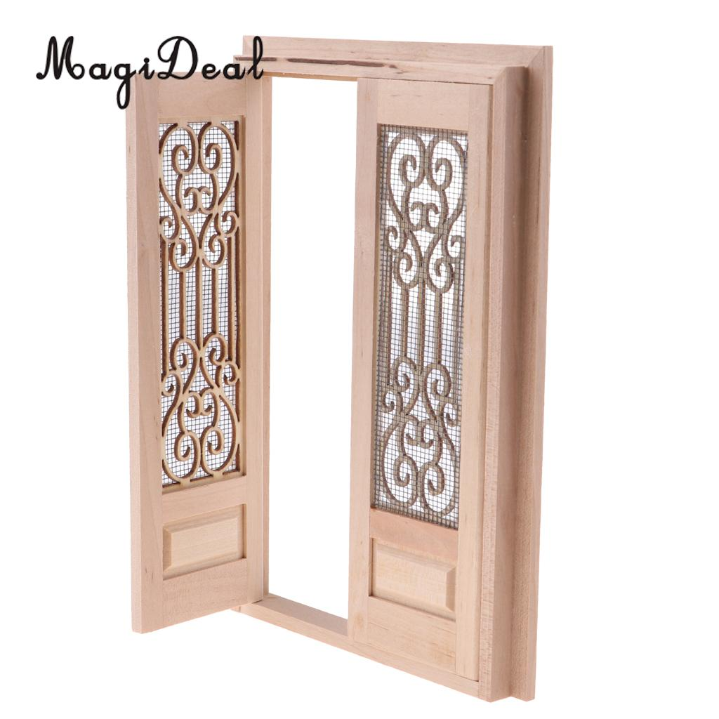 Magideal 1 12 scale dollhouse miniature wood external hollow screen double door unpainted furniture for dolls house accessory