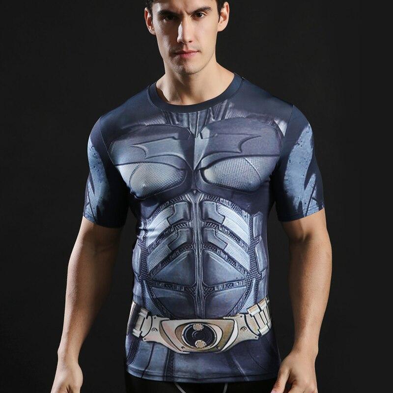 Men Women Summer Slim Sports T shirts  Brand Summer Short Sleeve T-shirt Compression Shirts BATMAN 3D Men Gym Quick Dry T Shirt