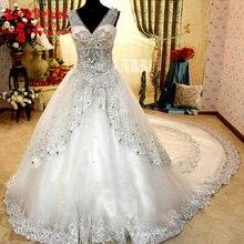 Dubai Kaftan Luxury Ball Gown Diamond Rhinestone Beaded Lace Wedding Dresses 2016 Long White Bridal Gowns vestido de noiva TW19