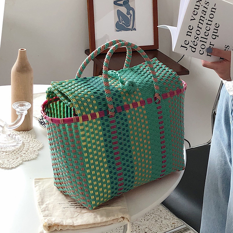 NEW Capacity Heavy Duty Handmade Woven PP Plastic Handbag Summer Beach Basket Bag green Plaid Checks Teacher Tote  Shopping bag handbag