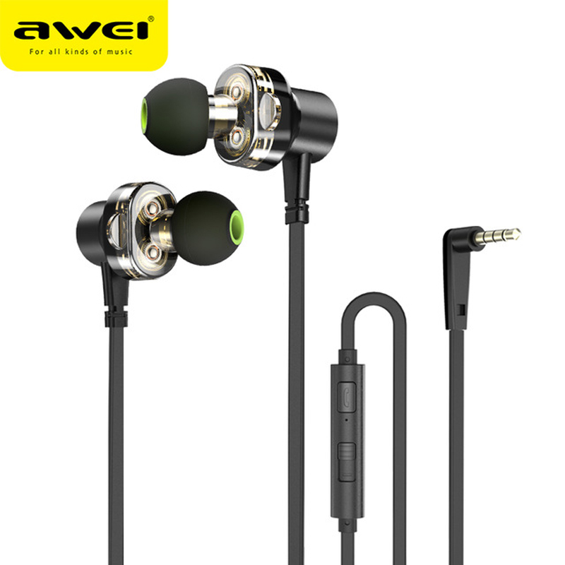 Awei In-Ear Earpiece Headset Earphone Wired Headphone Head For In Ear Phone Bud Computer PC Earbud Handfree With Microphone Wire