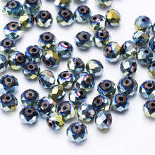 4mm Austria Faceted Rondelle Silver Plating Glass Beads Diy Jewelry Making Accessories Crystal Spacer Wholesale Z358