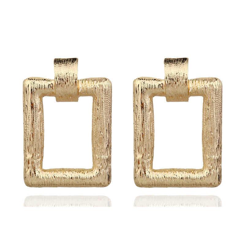 RscvonM ZA Square Big Dangle Drop Earrings Fashion Geometric Gold Color Punk Maxi Pendant Earring For Women Party Jewelry