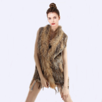 CHEWIES Women Nature Rabbit Fur Vest Natur Rabbit Vest With Raccoon 2018 New Arrival Cardigan Winter Waistcoat With Tassels 3.3