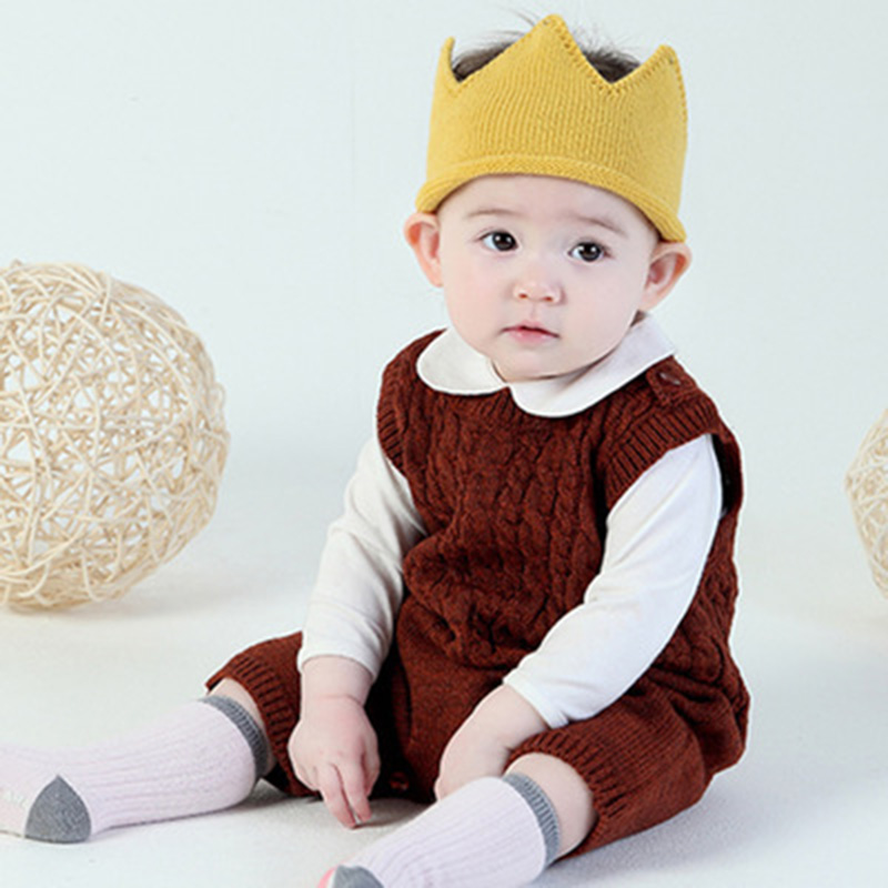 Winter Warm kids Hat Winter Autumn Crochet Solid Cotton Baby Girls Boy Cap Babies Crown hat for child for 1 3 years Birthday hat in Men 39 s Skullies amp Beanies from Apparel Accessories