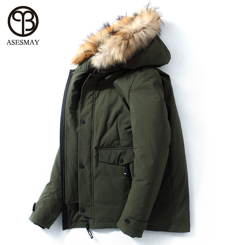 Asesmay 2018 hommes d'hiver vers le bas vestes épais chaud court manteaux véritable fourrure col capuche décontracté plume d'oie hommes paraks neige outwear