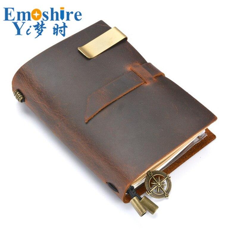 novo manual de viagem caderno de couro notebook retro inserir termos loose leaf diario bloco de