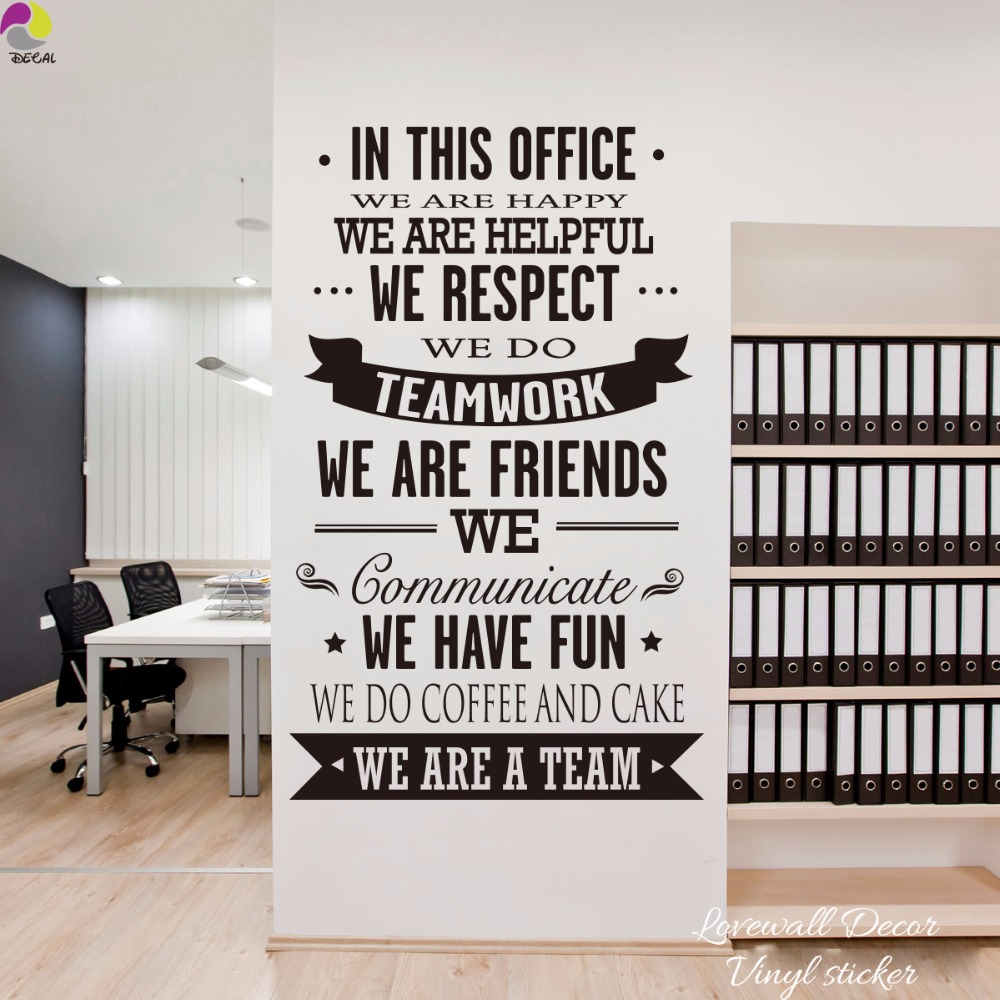 In This Office Ultimate Typography Quote Lettering Wall Sticker Happy Helpful Teamwork Friend inspiration Quote Decal Decor art