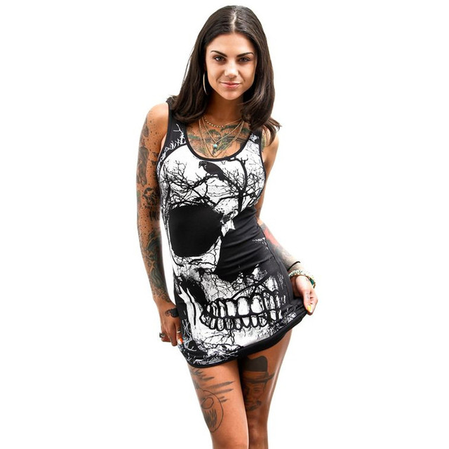 Skull Print Dress Women Bodycon Black Sleeveless