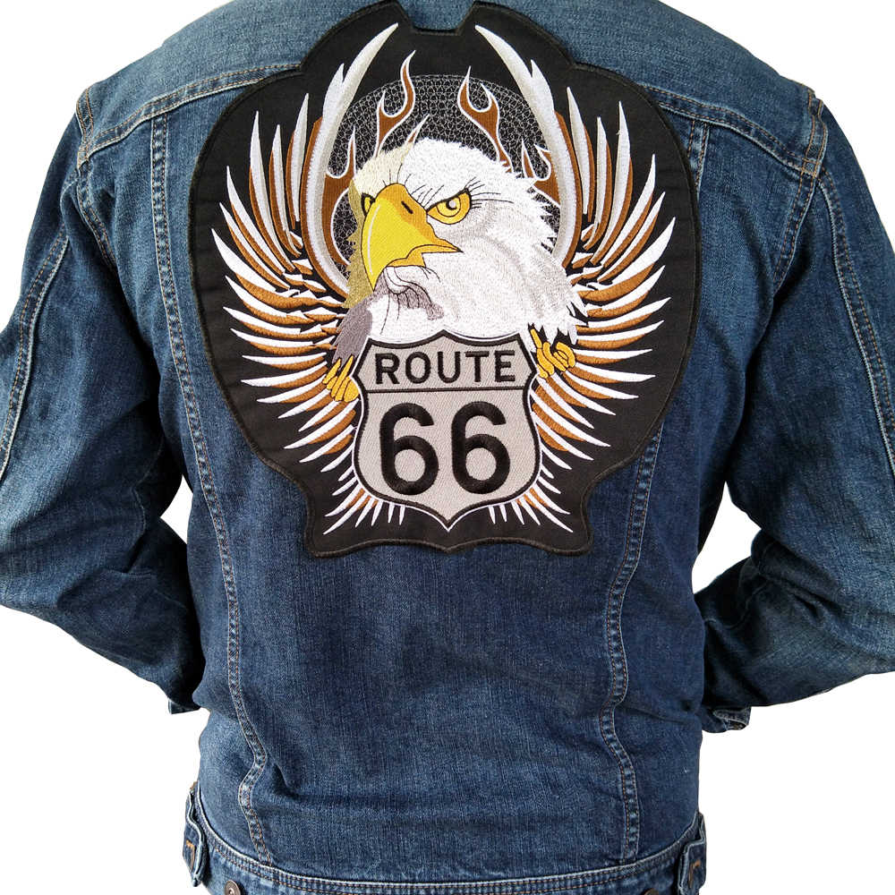 iron on Eagle Route 66 embroidery Motorcycle patch,Embroidery big Patch Badge For Jacket