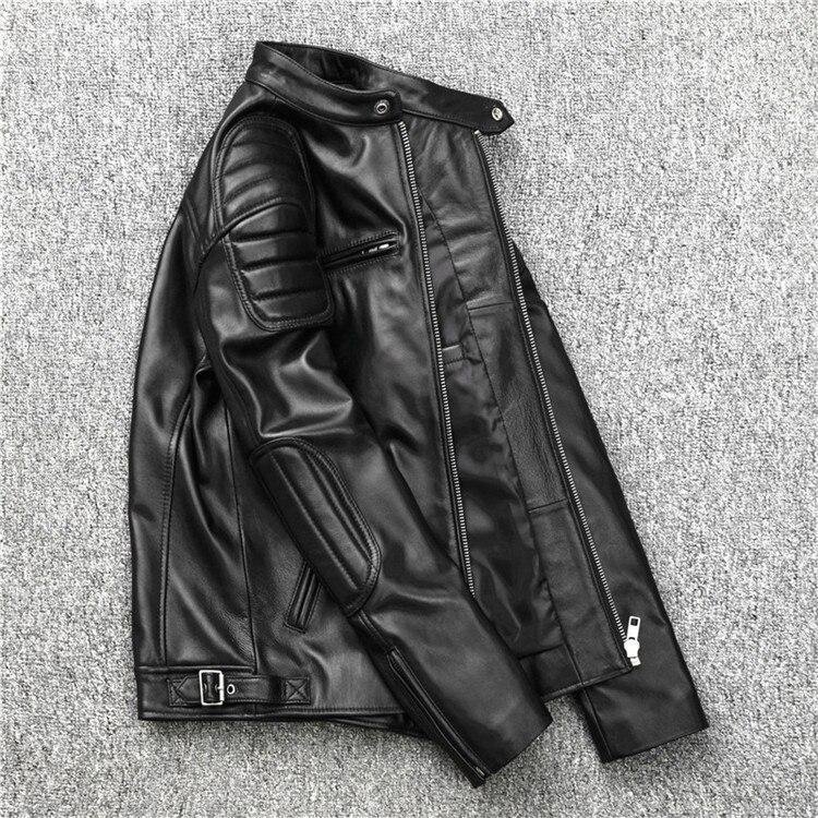 YR!Free Shipping.outlet Soft Sheepskin.black Motor Style Leather Jacket,fashion Slim Genuine Leather Coat,man Plus Size Jacket.