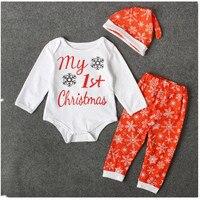 Baby Clothing Sets Autumn Baby Boys Girls Clothes Long Sleeve Romper Pants Hats 3Pcs Christmas Fall