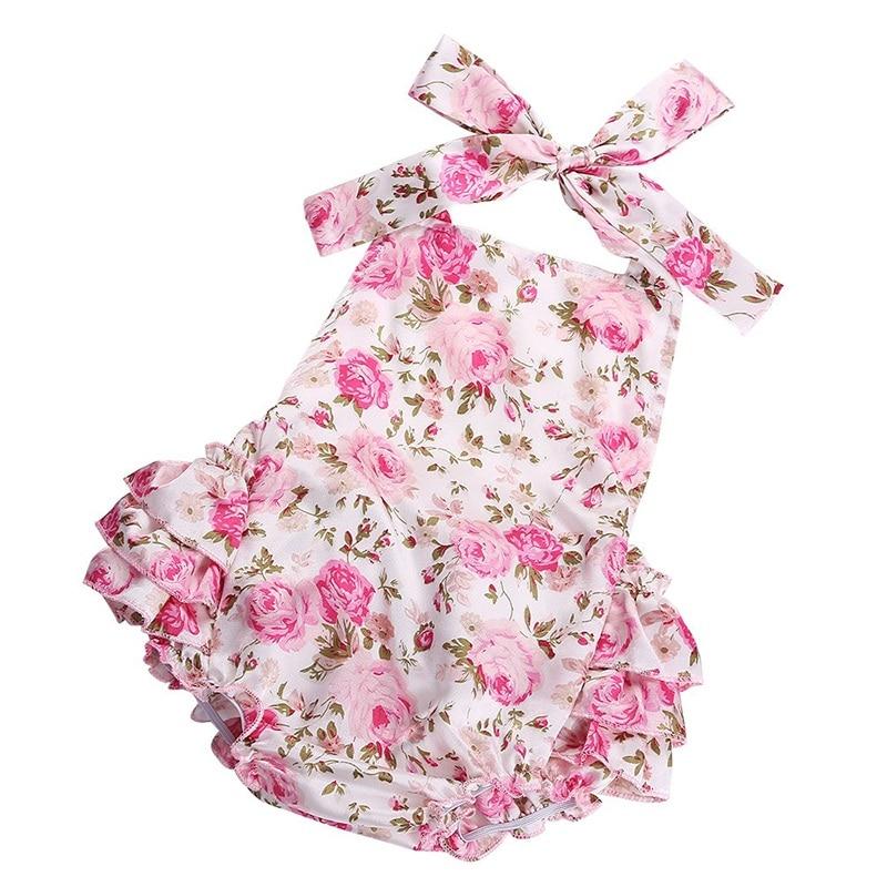 453bc4351a88 Floral Baby Girl Romper Newborn Baby Shoes Flower Headband 3pcs Set ...