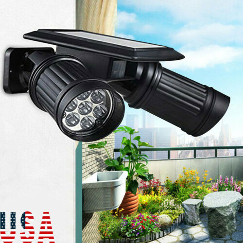 Waterproof 14LED Dual Head Solar Powered Yard Lights PIR Motion Sensor Spotlight