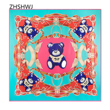[ZHSHWJ] 100% silk scarf fashion shawl big brand Bandana 130cm * 130cm women scarves cartoon bear Hijab square satin scarf