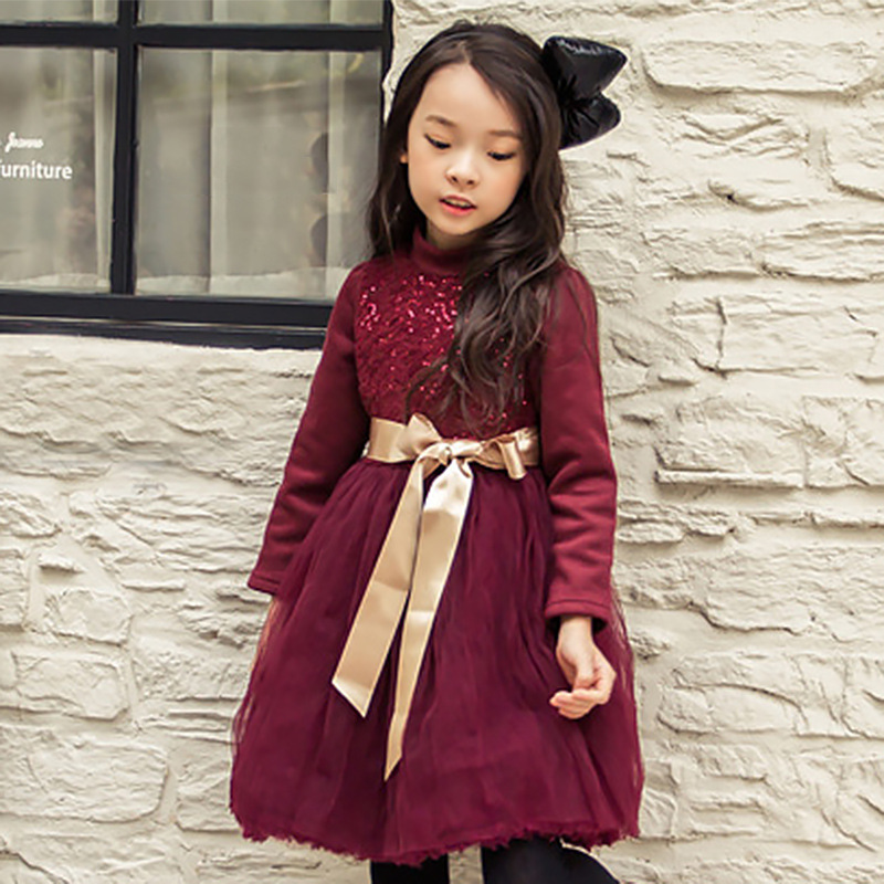 ФОТО Baby Kids Flower Girls Dresses 2016 New Autumn Evening Gowns big Bow Full Sleeve Party Frocks Korea Pageant Dresses For Girls