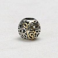 925 Sterling Silver Beads Charms Vàng Flower Hollow Out Vòng Hạt Fit Phụ Nữ Gốc Pandora Charms Bracelet & Bangle XCY135