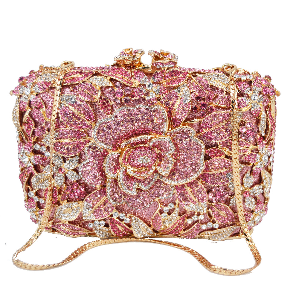Crystal-Bags Clutch Evening-Bags Flower Rhinestone Grey Wedding Pink Luxury Party SC780
